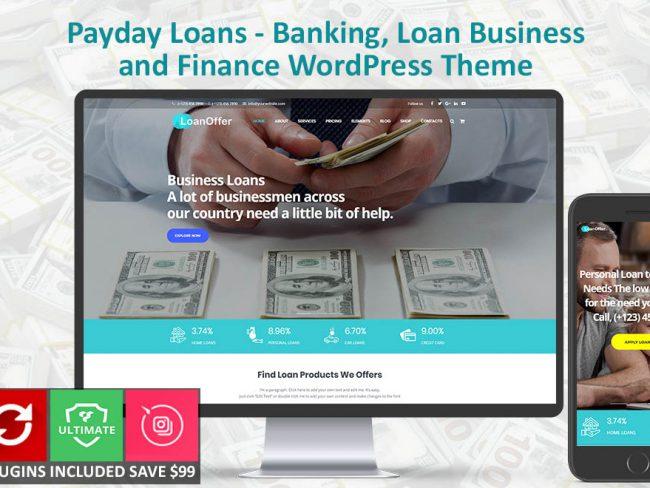 LoanOffer Banking, Home, Business Loan WordPress Theme