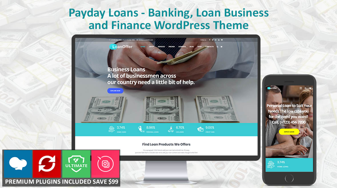 LoanOffer Banking, Home, Business Loan WordPress Theme