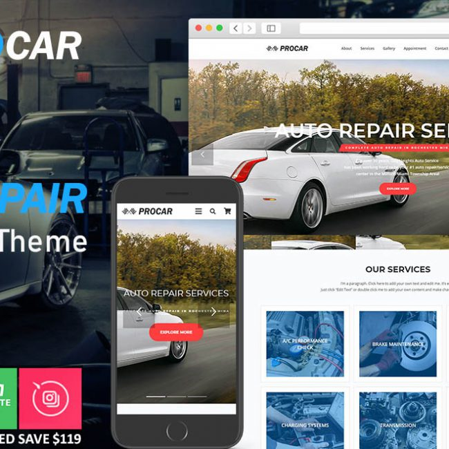 Auto Repair and Car Repair Wordpress Theme