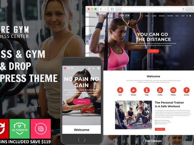 PureGym – Gym & Fitness Drag & Drop WordPress Theme